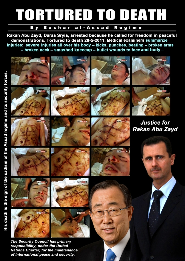 Syria President Bashar al-Assad tortured protester to death