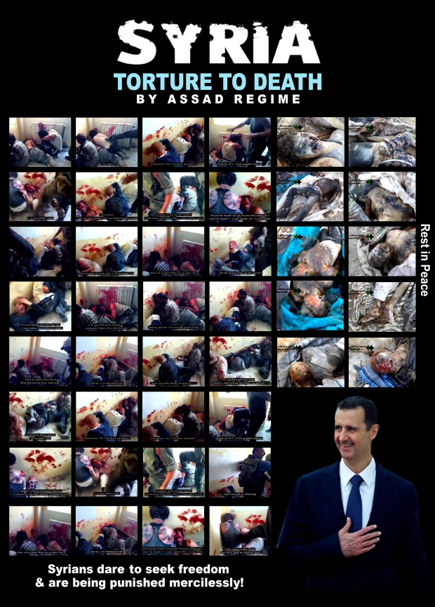 Syria Bashar al-Assad regime loyal forces, arrested and brutally tortured a group of unarmed Syrians to death