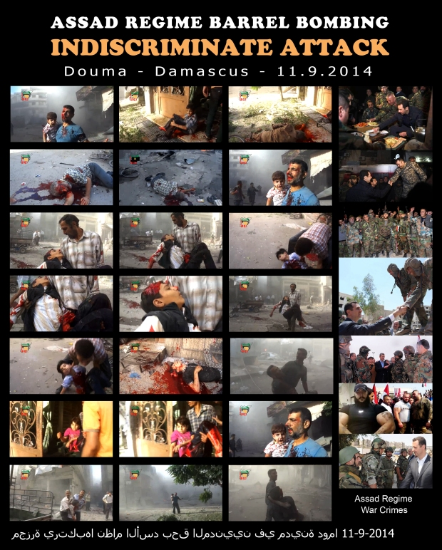 Syria Assad regime barrel bombing Douma Damascus indiscriminately