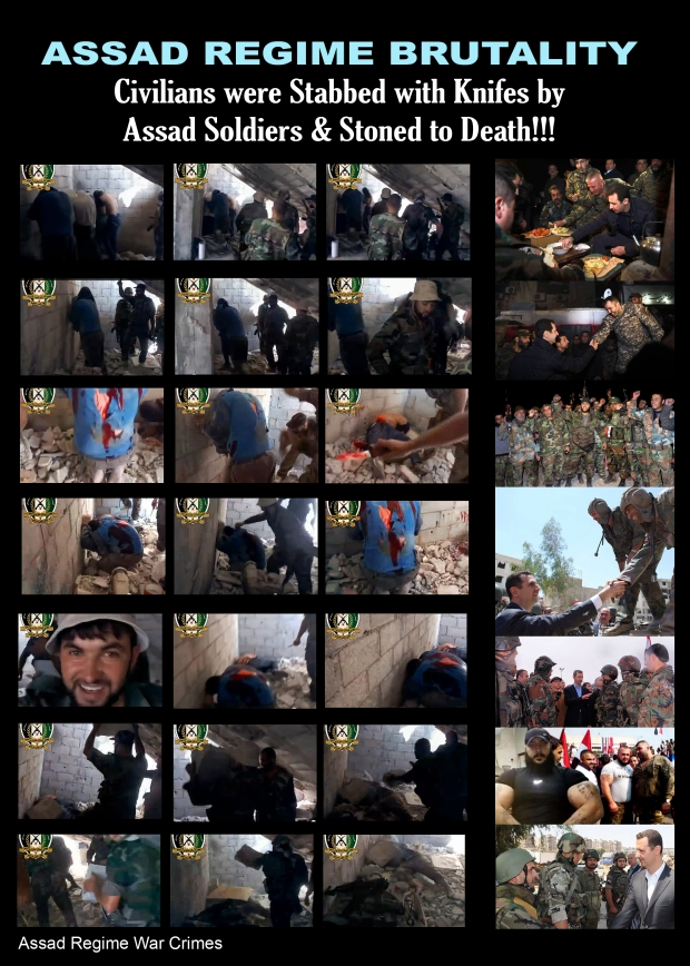 Syrian civilian was beaten, stabbed and stoned to death by Assad soldiers