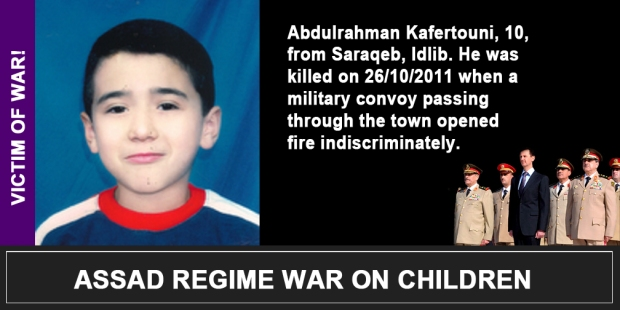 Syria Assad War on children Abdulrahman Kafertouni
