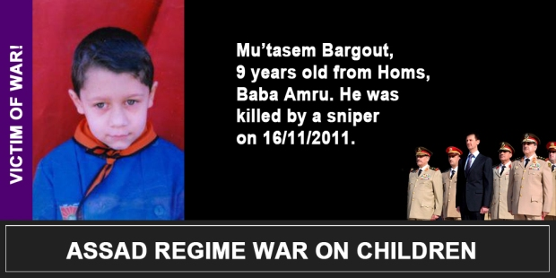 Syria Assad War on children Mu'tasem Bargout