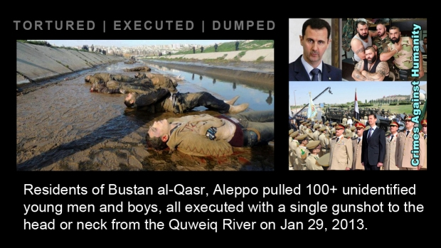 syria assad crime River Quweiq execute