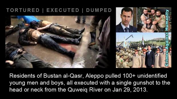 syria assad river Quweiq Bustan al-Qasr torture kill war crime