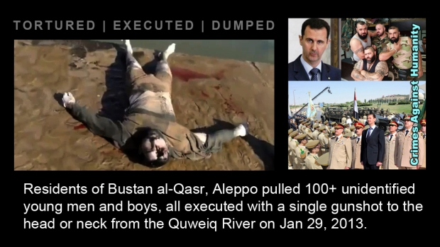 syria assad regime war crime River Aleppo massacre