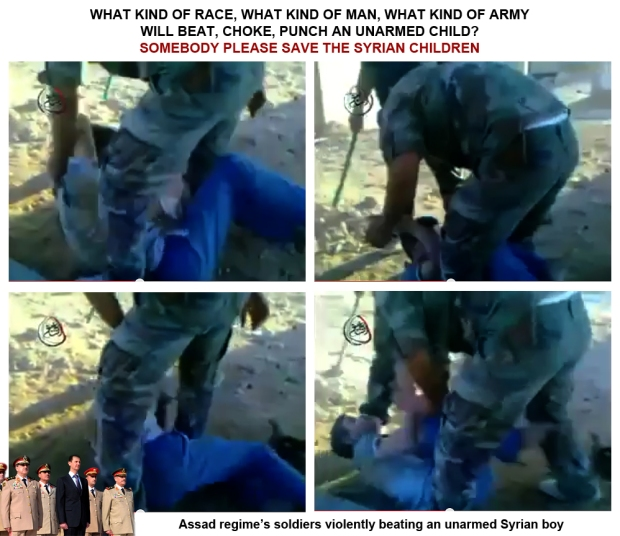 Assad army soldiers brutally beaten a syrian child