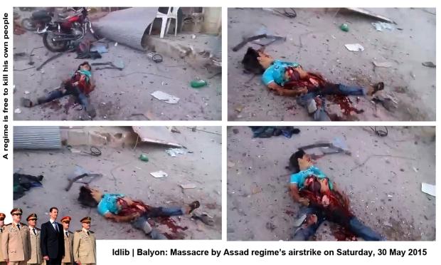syria assad regime forces bomb Balyon idlib airstrike massacre syrians