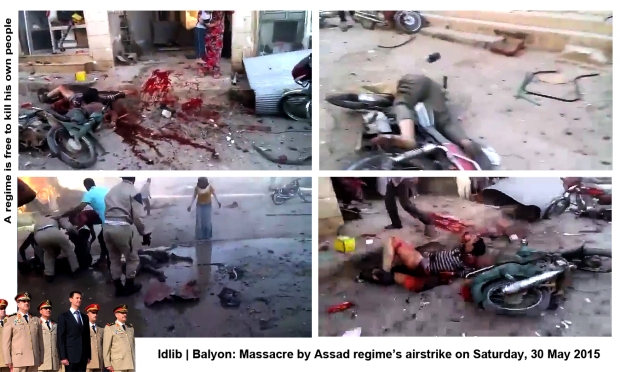 syria assad regime forces drop bomb on Balyon idlib airstrike massacre syrians