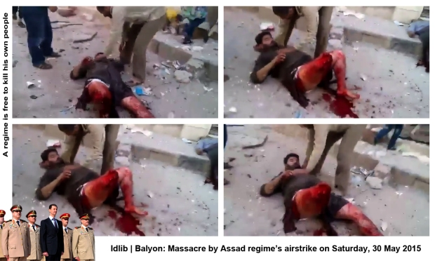 syria regime forces bomb Balyon idlib airstrike massacre syrians people