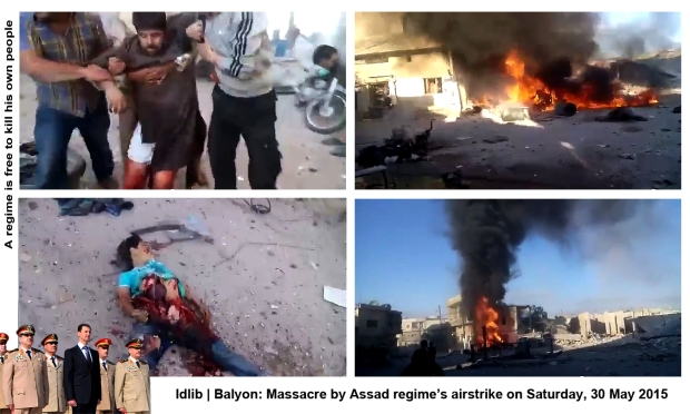 syria assad regime forces bomb Balyon idlib airstrike massacre many syrian civilians