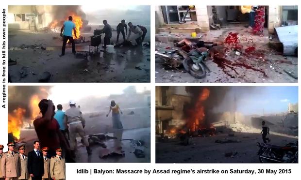 syria assad regime Balyon idlib airstrike massacre civilians