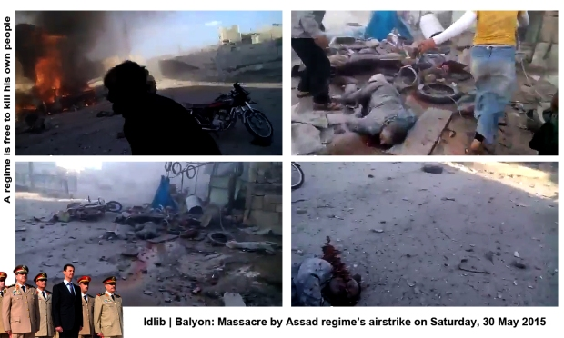 syria assad regime Balyon idlib airstrike massacre innocent civilians