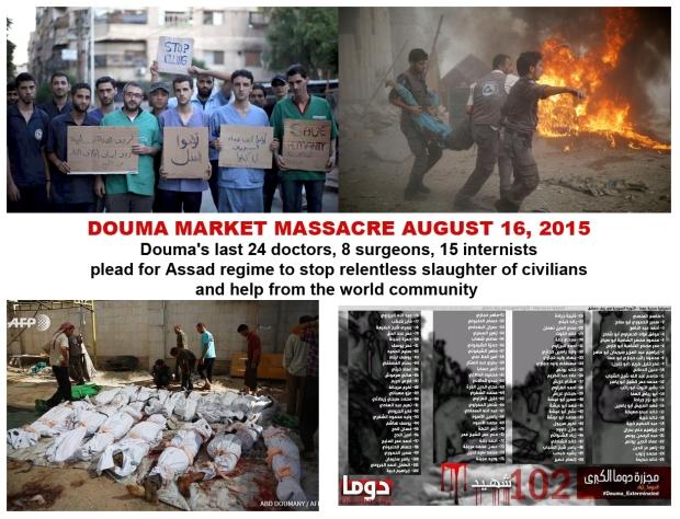 assad bashar syria bomb douma market
