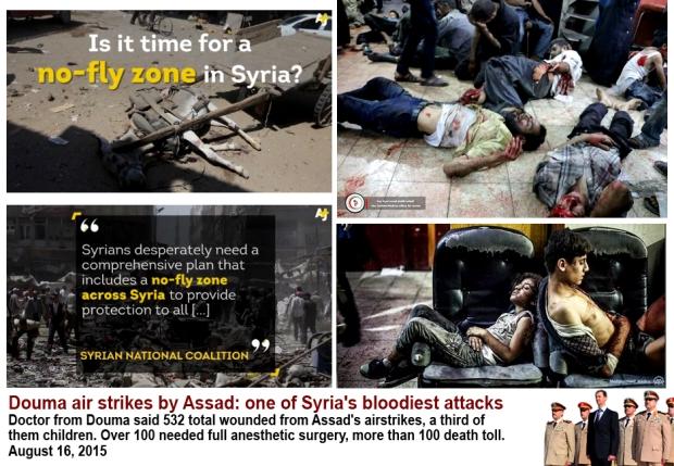 Syria Damascus Douma market bombed by Assad regime