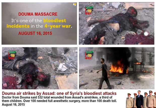 Assad regime genocide Douma civilians at the marketplace