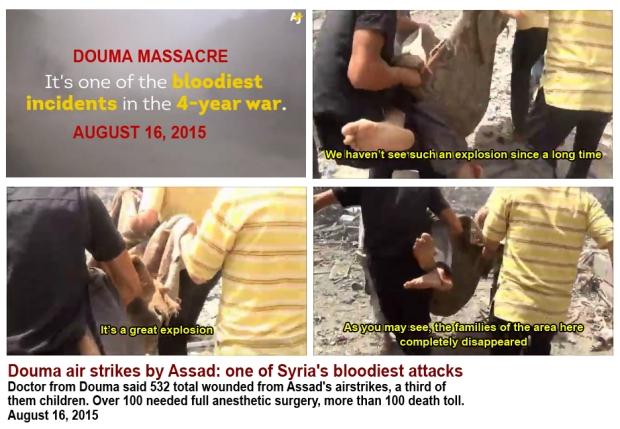 Bomb Douma market palce by assad