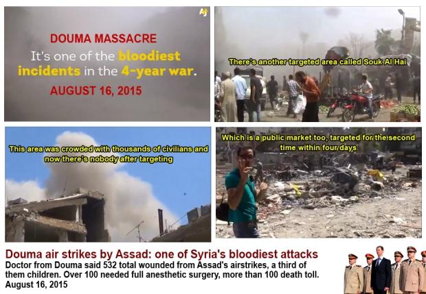 Syria douma market bombed by Assad regime