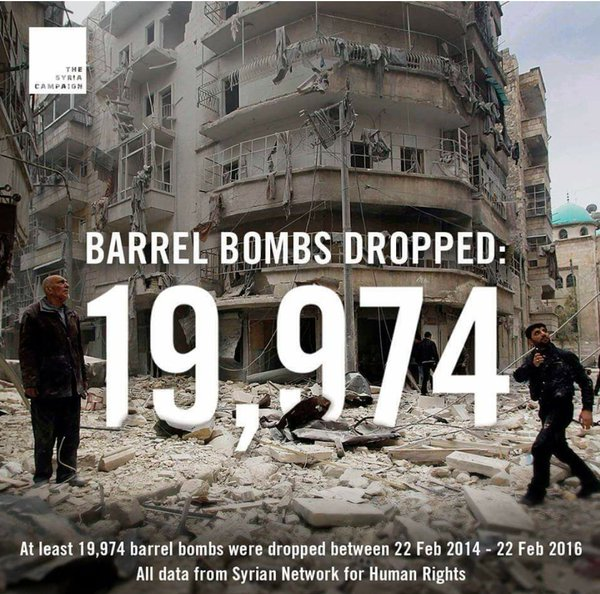 Assad drop 19974 barrel bomb in syria